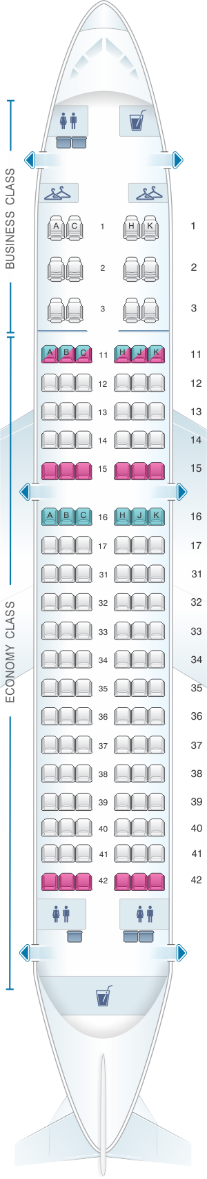 Seat map for Air Astana Airbus A319 132