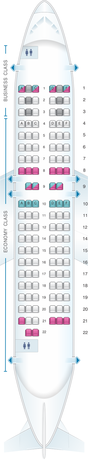 Seat map for airBaltic Boeing B737 500
