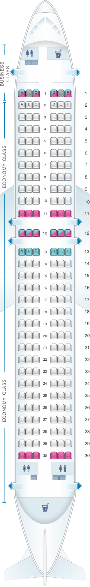 Seat map for airberlin Airbus A320 200