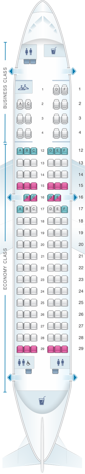 Seat map for Air Canada Airbus A319 100
