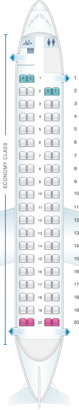 Seat map for Air Canada Bombardier Q400