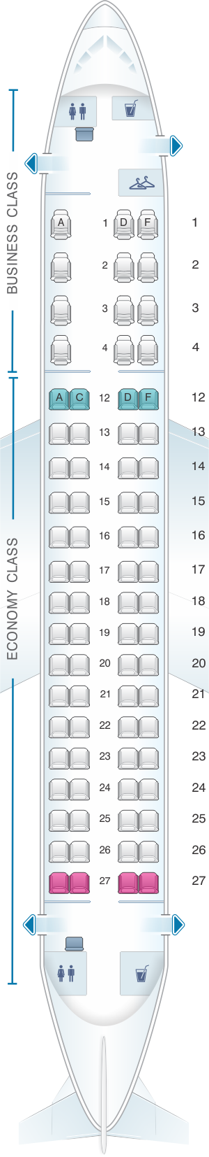 Seat map for Air Canada Embraer E175