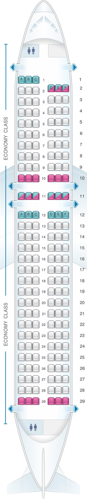 Seat map for Air New Zealand Airbus A320 Domestic
