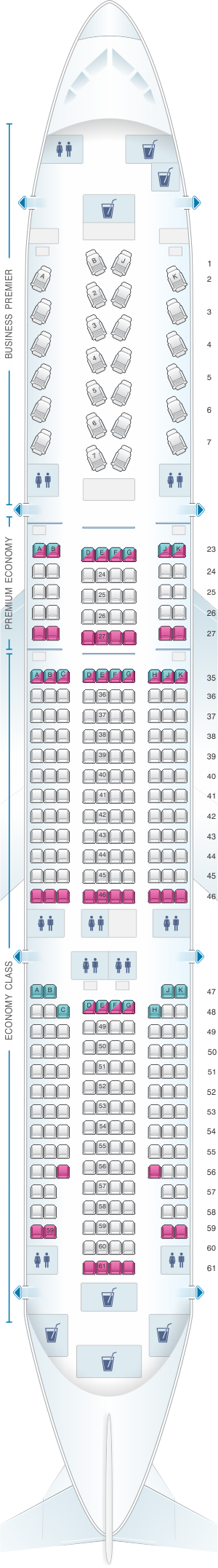 Seat map for Air New Zealand Boeing B777 200