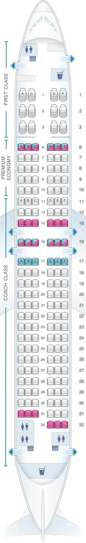 Seat map for Alaska Airlines - Horizon Air Boeing B737 800