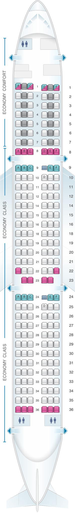 Seat map for Alitalia Airlines - Air One Airbus A321