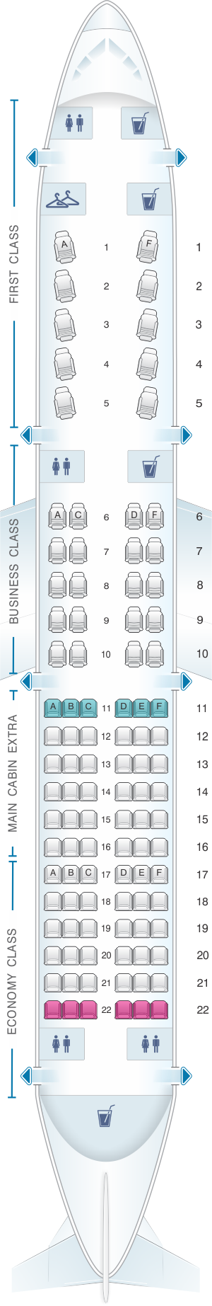 Seat map for American Airlines Airbus A321 Transcontinental