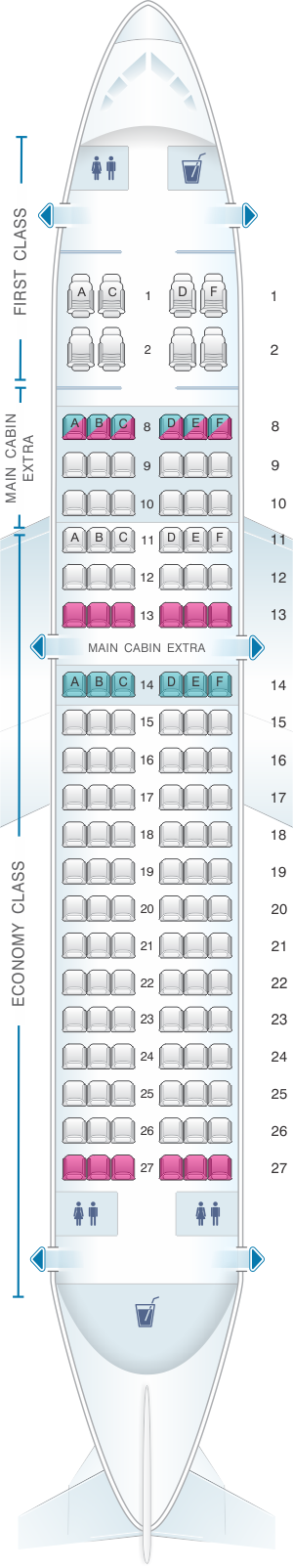 Seat map for American Airlines Airbus A319