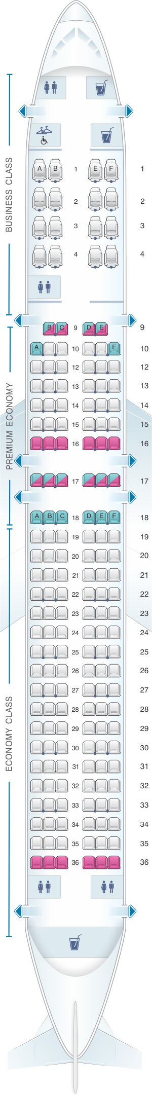 Seat map for American Airlines Boeing B757 International