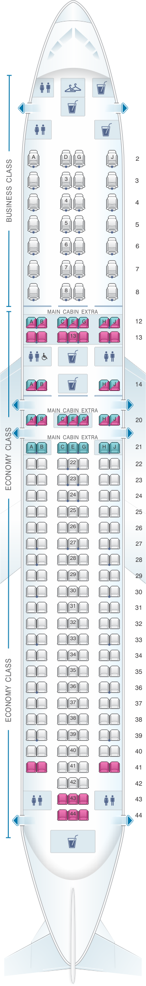 Seat map for American Airlines Boeing B767 300