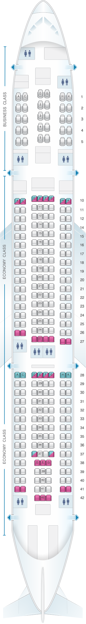Seat map for Asiana Airlines Airbus A330 300 275PAX