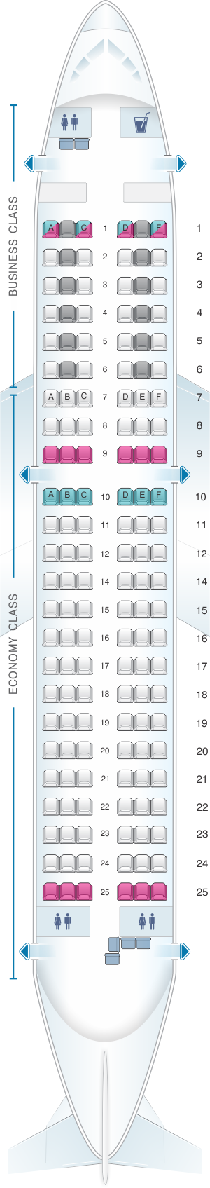 Seat map for Austrian Airlines Airbus A319