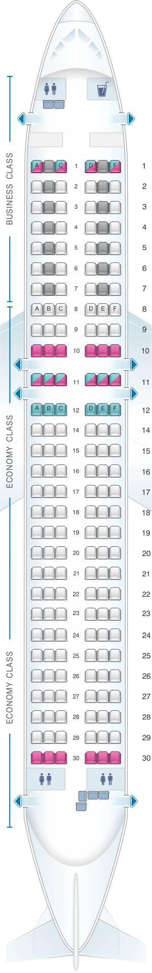 Seat map for Austrian Airlines Airbus A320