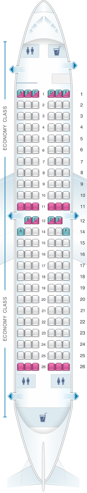 Seat map for Blue Panorama Boeing B737 300