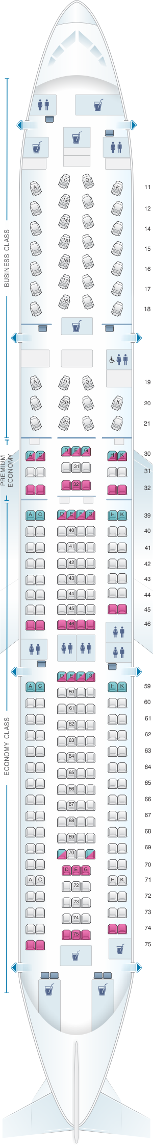Seat map for Cathay Pacific Airways Airbus A330 300 (33K)
