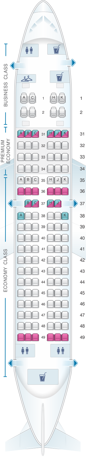 Seat map for China Southern Airlines Boeing B737 700