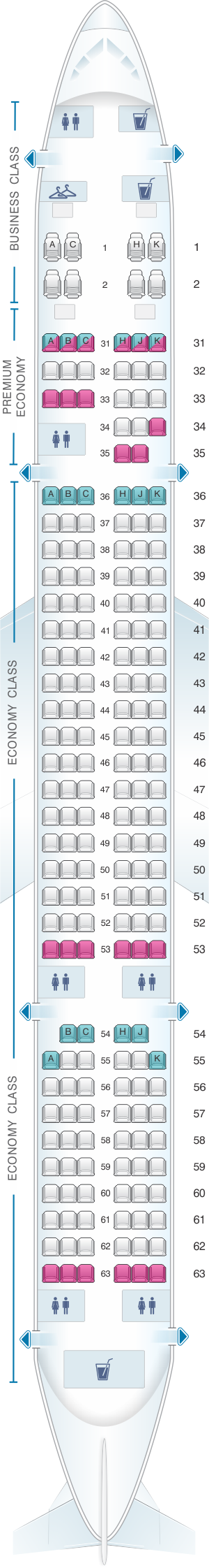 Seat map for China Southern Airlines Boeing B757