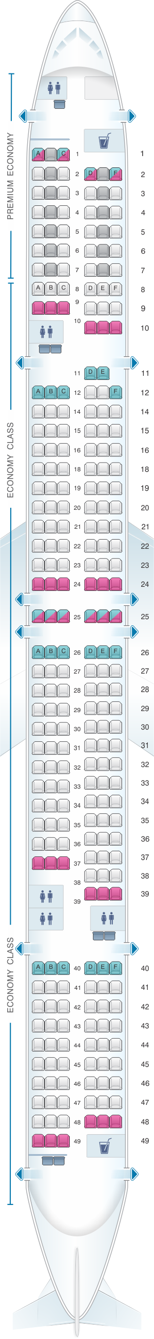 Seat map for Condor Boeing B757 300