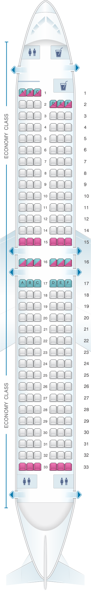 Seat map for Corendon Airlines Boeing B737 800