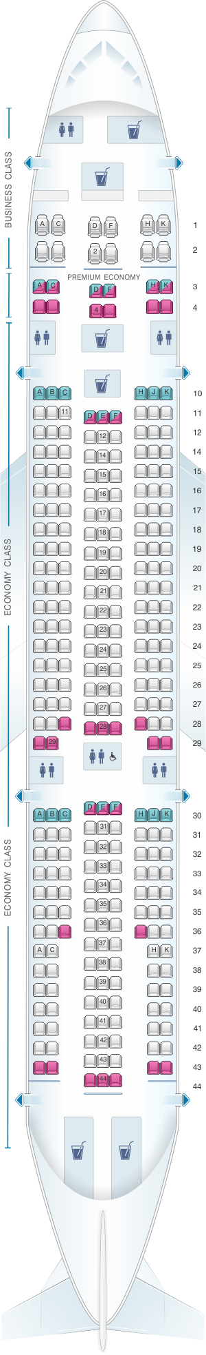 Seat map for Corsair Airbus A330 200