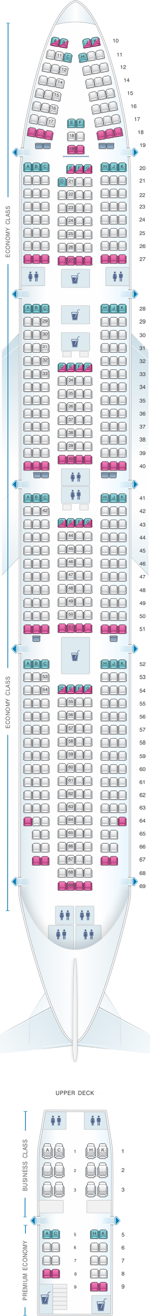 Seat map for Corsair Boeing B747 400