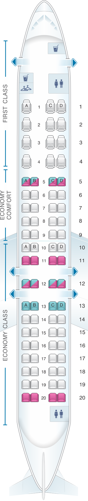Seat map for Delta Air Lines Bombardier CRJ 900