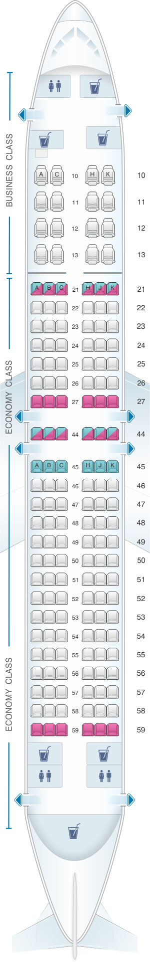 Seat map for El Al Israel Airlines Boeing B737 800 154pax
