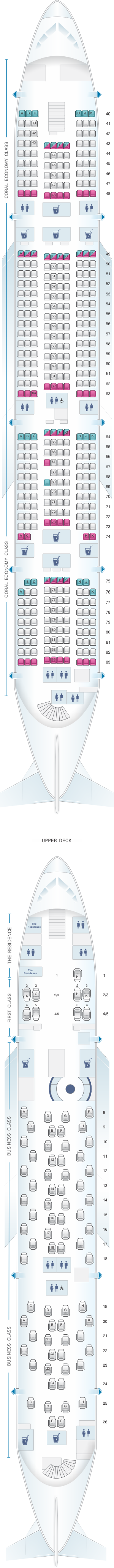 Seat map for Etihad Airways Airbus A380 800
