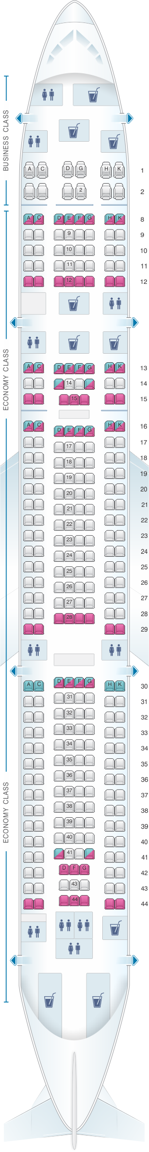 Seat map for Hi Fly Airbus A340 300 TQM 300pax