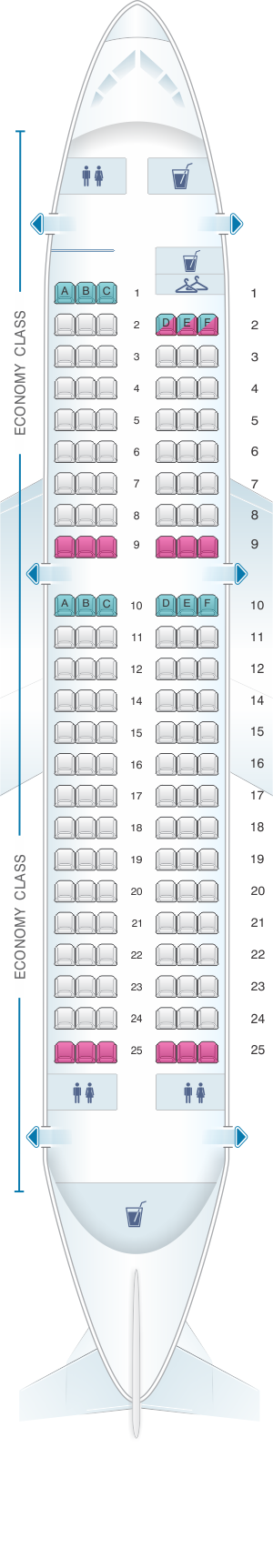 Seat map for Iberia Airbus A319 single-class