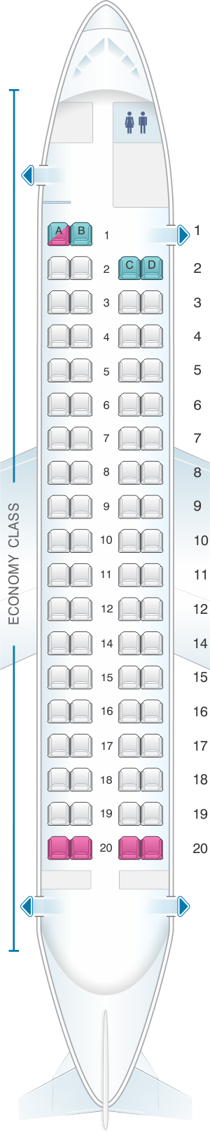 Seat map for Japan Airlines (JAL) DHC8 Q400 Q01