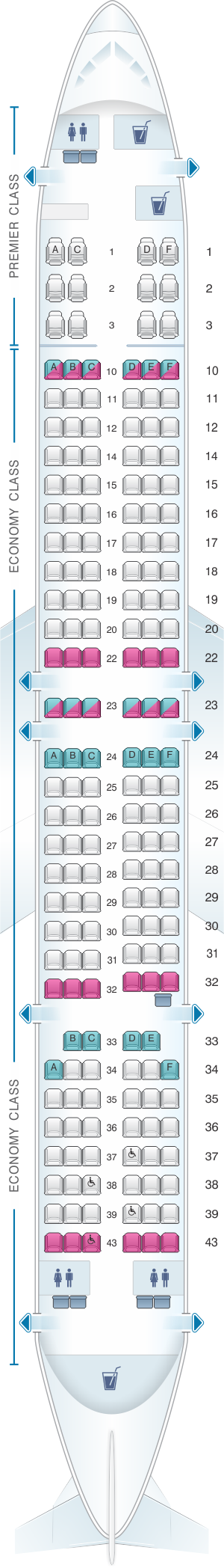 Seat map for Jet Airways Boeing B737 900ER 184PAX