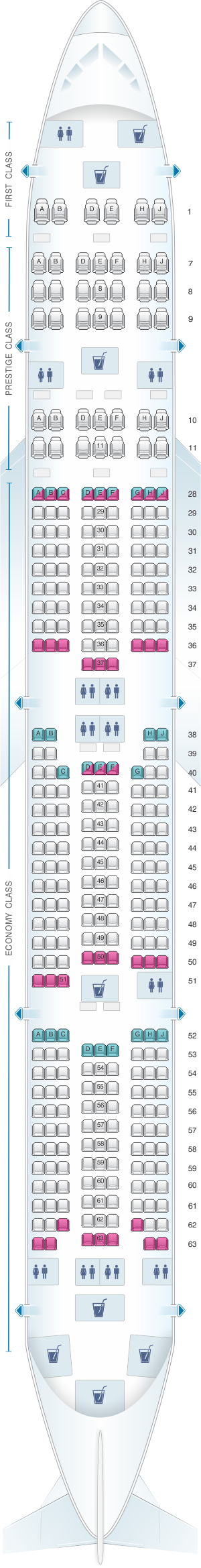 Seat map for Korean Air Boeing B777 300 338PAX
