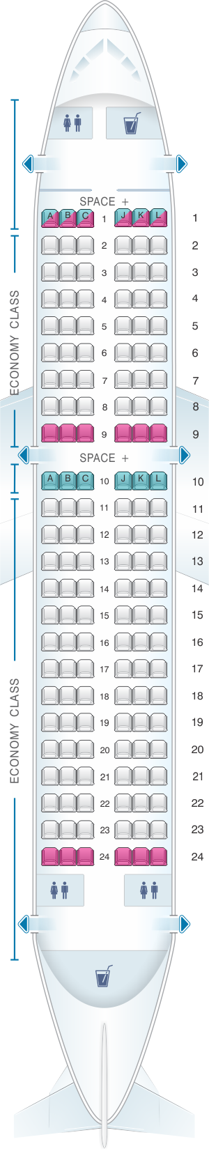 Seat map for LATAM Airlines Airbus A319