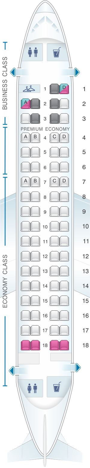 Seat map for LOT Polish Airlines Embraer 170