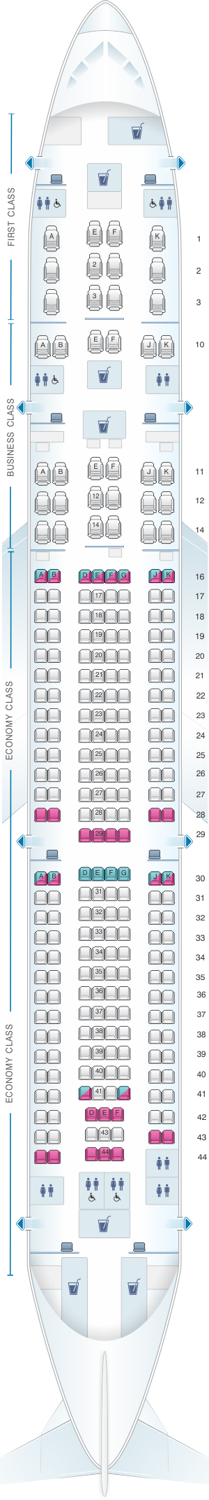 Seat map for Qatar Airways Airbus A330 300 259pax