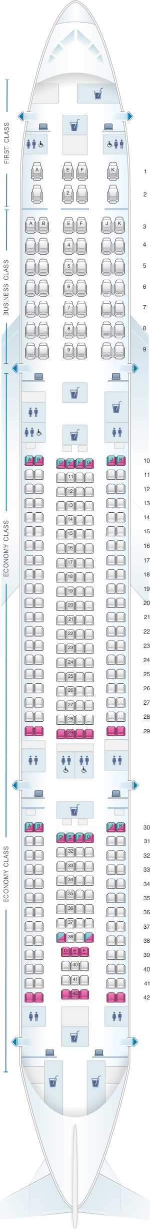 Seat map for Qatar Airways Airbus A340 600