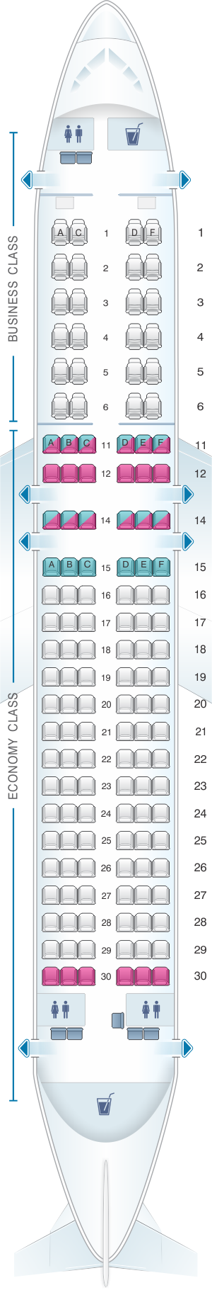 Seat map for South African Airways Airbus A320 200