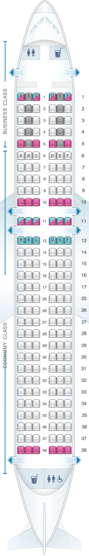 Seat map for SWISS Airbus A320 200