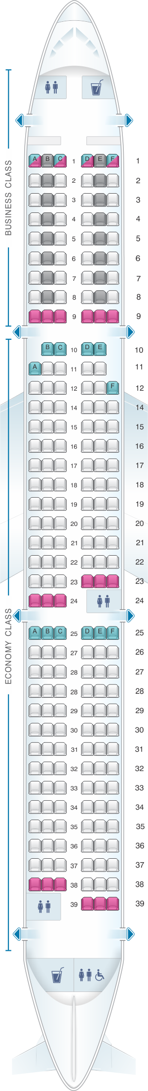 Seat map for SWISS Airbus A321 100/200