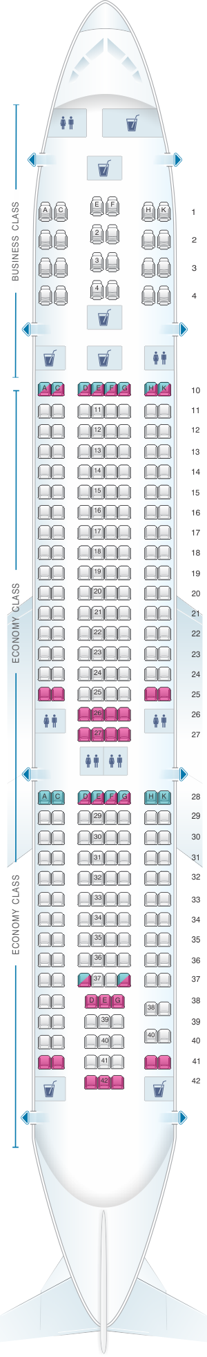 Seat map for TAP Air Portugal Airbus A330 200 V1