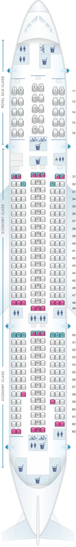 Seat map for Thai Airways International Boeing B777 200
