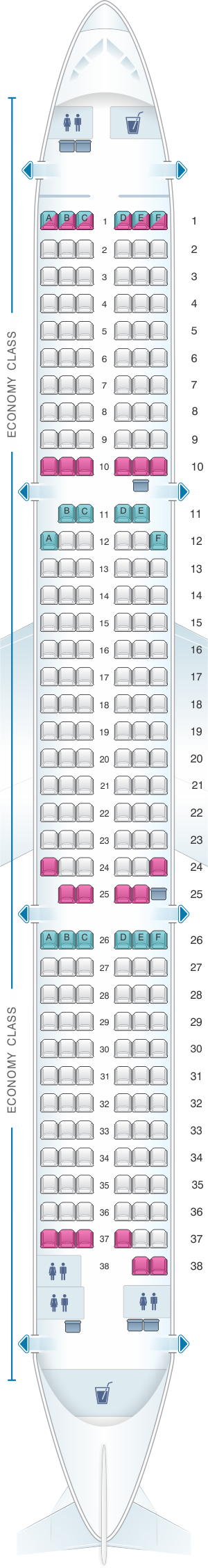Seat map for Thomas Cook Airlines Airbus A321 200