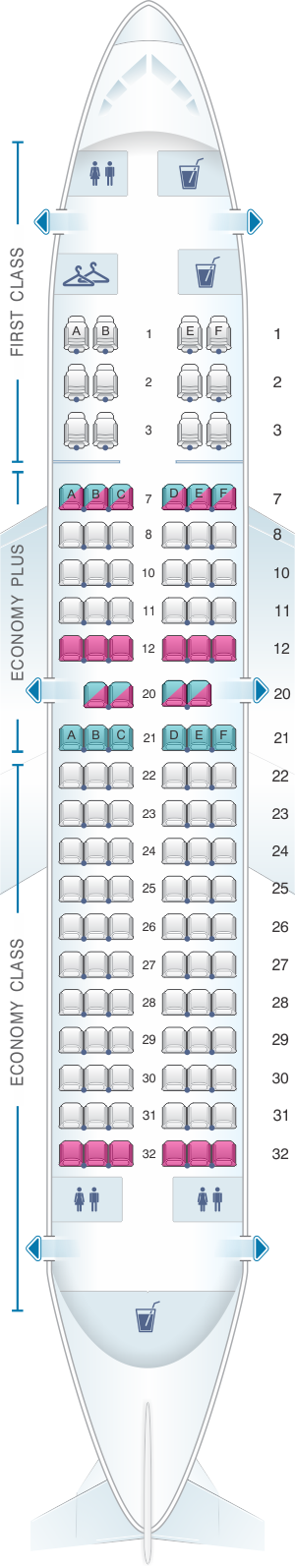 Seat map for United Airlines Boeing B737 700 - version 1