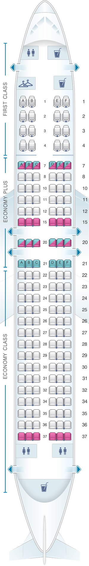 Seat map for United Airlines Boeing B737 800 - version 1