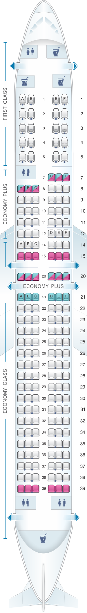 Seat map for United Airlines Boeing B737 900 - version 2