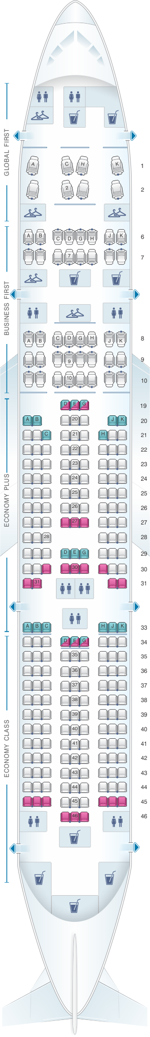Seat map for United Airlines Boeing B777 200 (777) - version 1