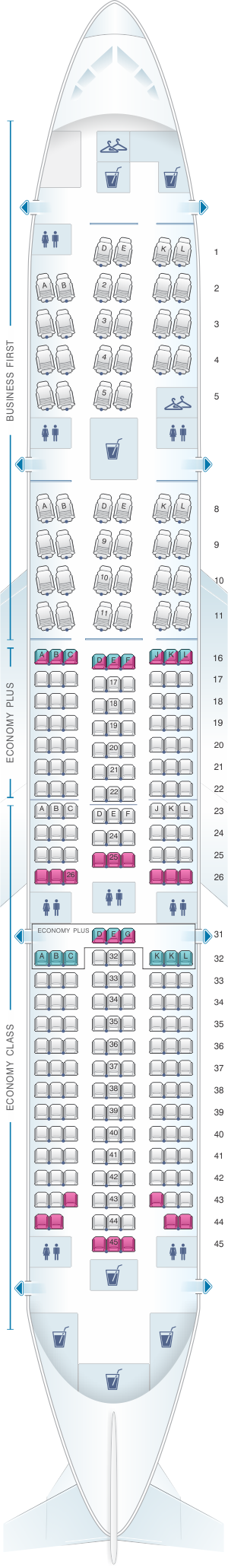 Seat map for United Airlines Boeing B777 200 (777) - version 2