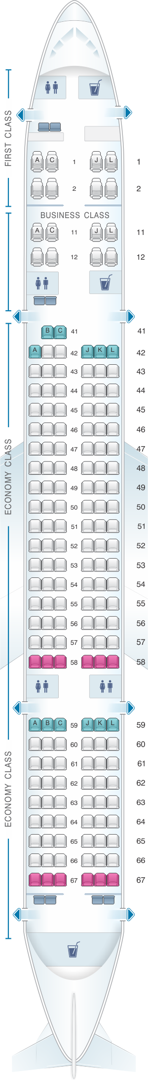 Seat map for Xiamen Airlines Boeing B757 200 174pax
