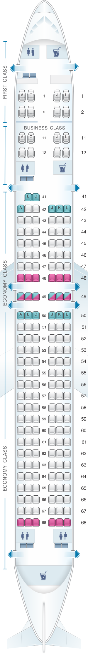 Seat map for Xiamen Airlines Boeing B757 200 180pax
